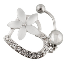 New Fashion Belly Button Rings Medical Steel Dangle Rhinestone Heart Mix Flower Navel Body Piercing Jewelry M804