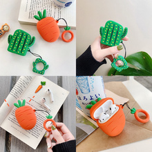 Cartoon cute carrots cactus for airpods  for Apple Bluetooth headset  shell silicone soft belt rings funny Ear case