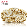 NATASSIE Women Evening Clutch Bags Ladies Gold Crystal Clutches Female Party Bag