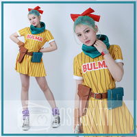 Dragon Ball Z Bulma Cosplay Costume Yellow Dress with Scarf and Belt