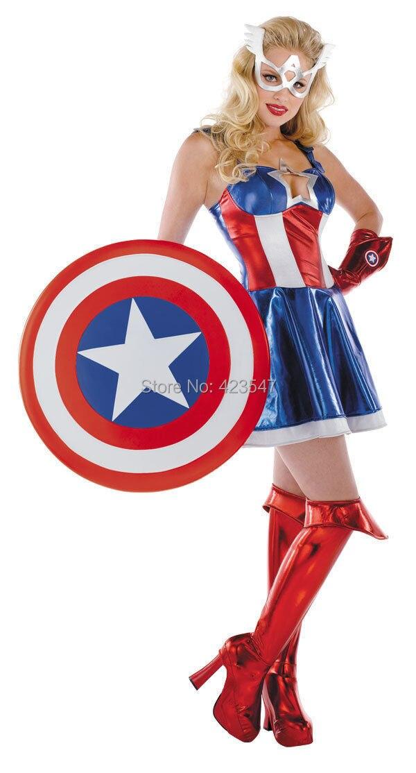 Blue Metal Captain America Prestige Adult Female Costume
