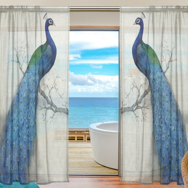 2017 Sheer Tulle Curtains For Bedroom Rideaux Peacock Window Curtains For  Living Room Kitchen Sheer Curtain