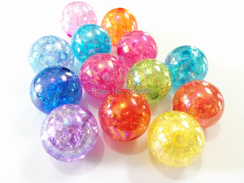 (Choose Size First) 12mm/16mm/20mm Mixed Color Chunky Crack AB Beads mixed size