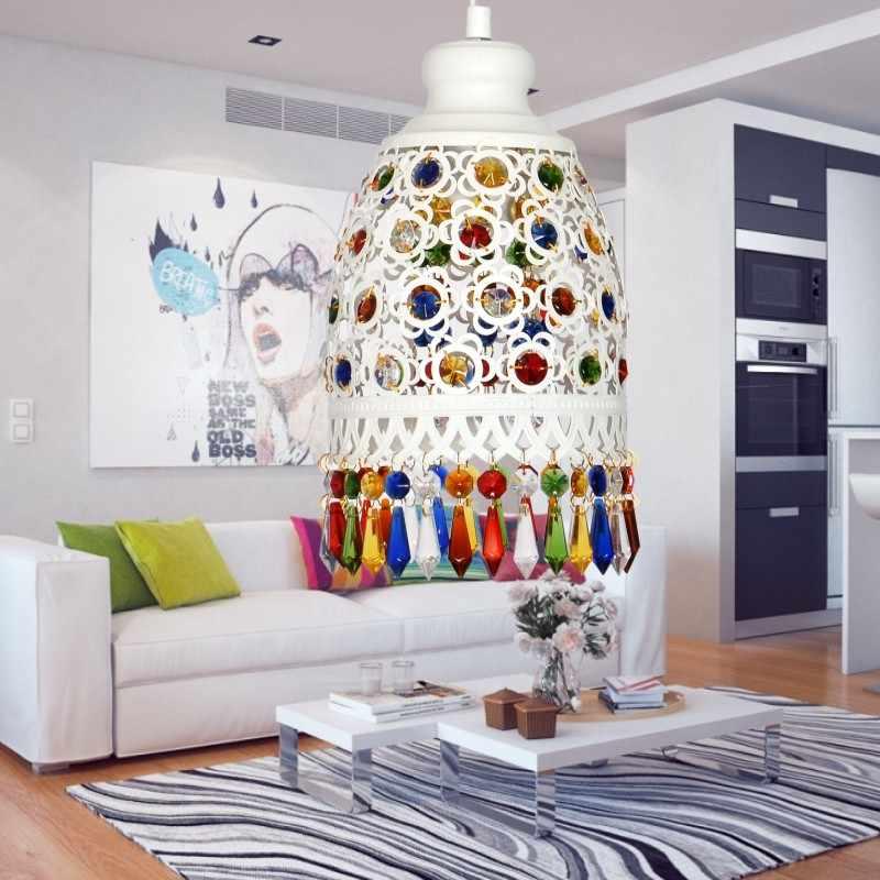 Богема средиземноморская Ретро многоцветный Бронзовый кованого железа подвесные лампы для ресторана спальня лампа