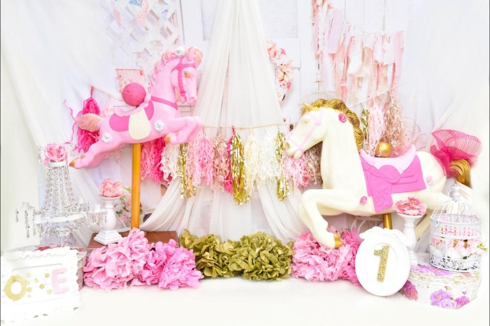 7x5ft Pink Flowers Drape Unicorn 1st Girl Baby Shower