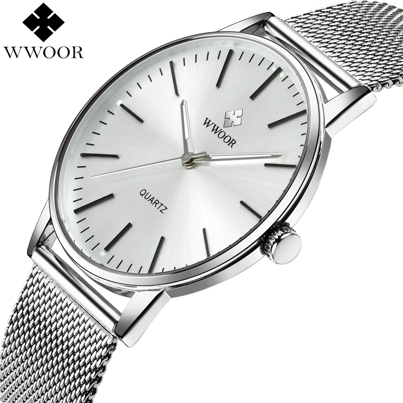 WWOOR Men Ultra Thin Quartz Watch Men Brand Luxury Waterproof Wristwatch Male Analog Clock Silver Stainless Steel Sports Watches купить