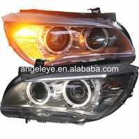 2009-2014 rok dla BMW dla X1 LED anioł oczy reflektory przednie głowica lampy z HID