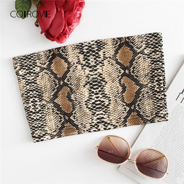 COLROVIE Snakeskin Bandeau Top Multicolor Animal Summer Women Clothing 2018  New Arrival Slim Fit Crop Vacation bc0739b4b