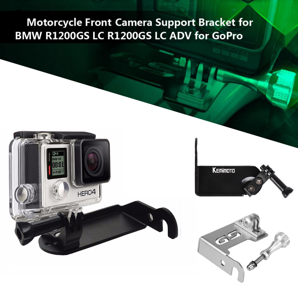 Black Front Left Bracket Holder Cam Camera Mount for BMW R 1200 GS R1200GS 2013-2016 BMW R1200GS Adv Motorrad Gopro 4 5