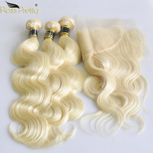 Ross Pretty Remy Indian body wave Hair Bundles With Frontal 613 Human Lace Weave blonde color