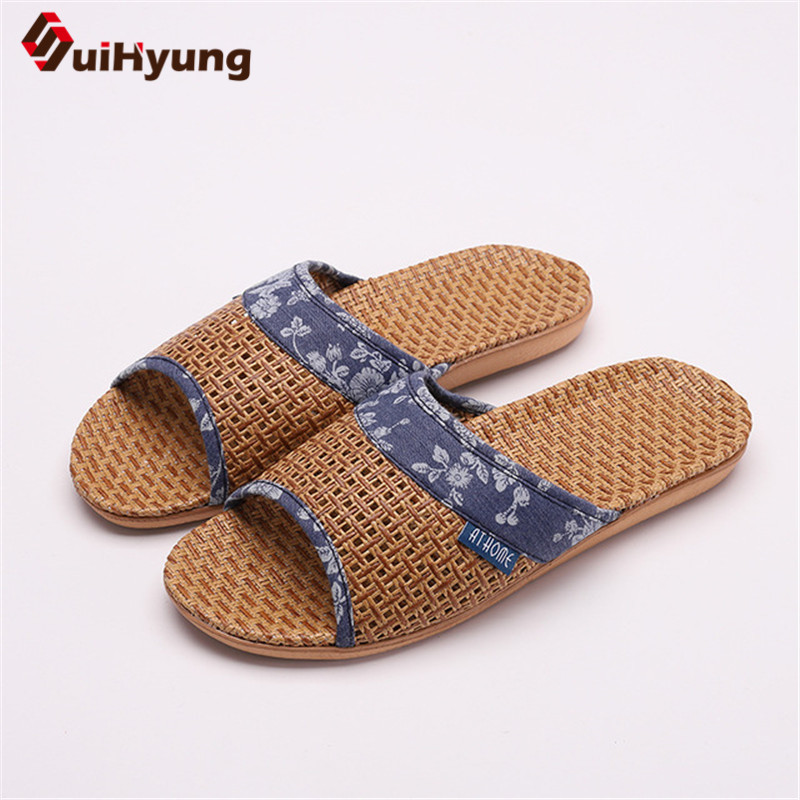 Suihyung Lovers Indoor Slippers 2019 New Summer Women Breathable Flax Slides Flip Flops Woman Man Casual Flat Sandals Plus Size 4