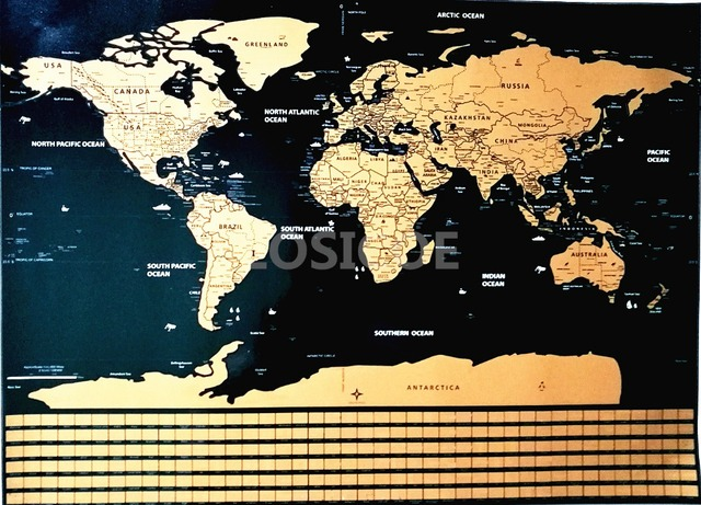 d08ee0ccce Deluxe Travel Scratch Off World Map Blue Ocean Retro Creative Wall Stickers  DIY Poster Map With Flag for Home Decoration