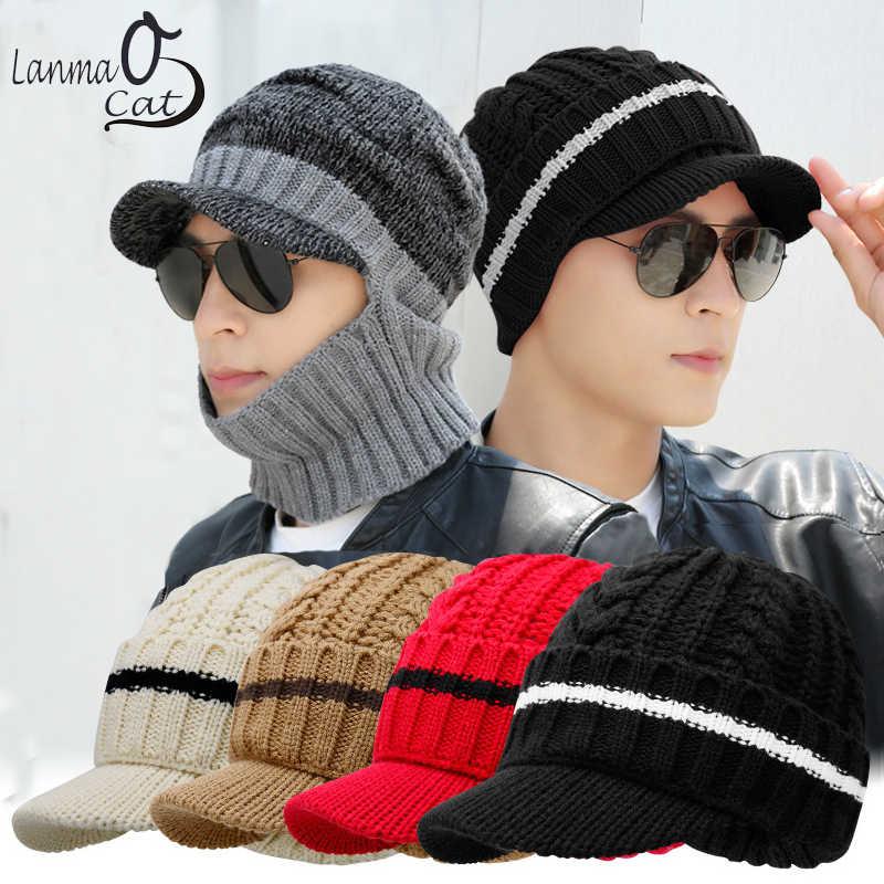 3d3f68802509 Lanmaocat Men Winter Mask Hat Visor Cap Warm Face Mask Fur Hats Knitted  Face Mask Cap