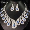 Azul Pedra de Cristal de Prata Banhado Mulheres Jóias Nupcial Elegante Presentes Da Promoção Do Partido Africano Conjuntos de Jóias de Casamento de Strass