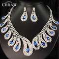 Blue Crystal Stone Silver Plated Women Bridal Jewelry Elegant Party Gifts Promotion African Rhinestone Wedding Jewelry Sets