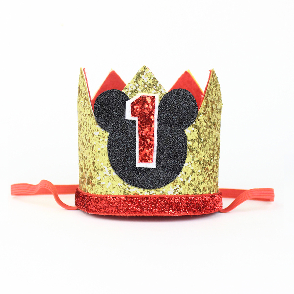 1st Birthday Hat Glitter First Crown Kids Party One Year