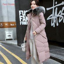 Fairy Dreams Women Plus Size Clothing Winter Jacket Long Coat Made Of Goose Feather Down Parka Fur Abrigos Mujer Invierno 2017