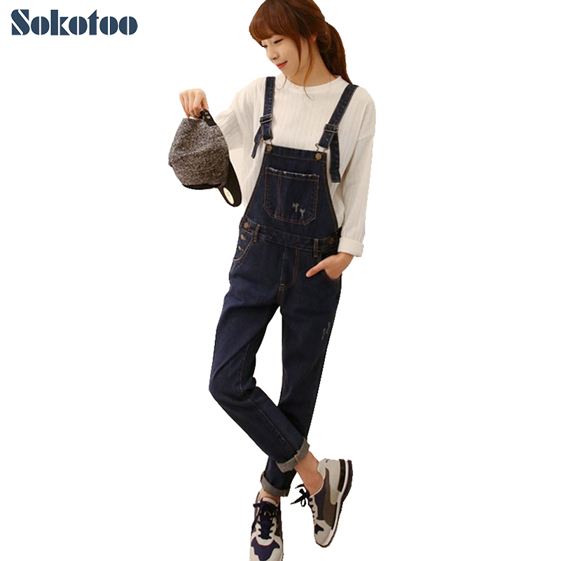 Sokotoo Women's casual loose jeans Lady's plus size denim bib pants Female spaghetti strap jumpsuit Overalls Free shipping free shipping 2017 new fashion summer denim bib pants loose plus size 3xl jumpsuit and rompers women shorts cotton jeans casual