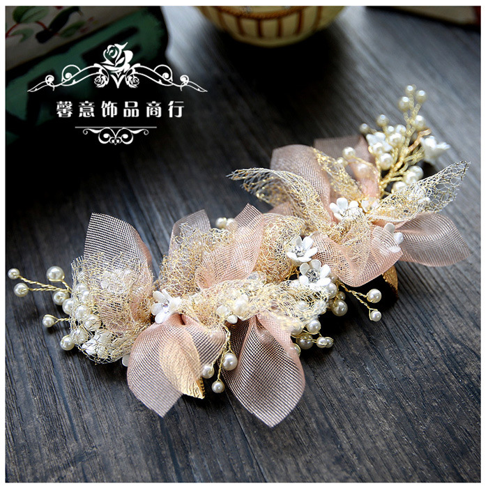 Bride Headdress Hair-Accessories Flower Yarn Wedding Pink Beauty Korean Silk