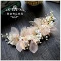 Koreanische seide garn blume braut kopfschmuck schönheit braut hochzeit haar zubehör rosa haar ornament-in Haarschmuck aus Schmuck und Accessoires bei