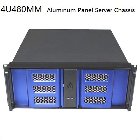 4U Aluminum Panel Computer 4U480MM Industrial / Industrial / Server / DVR / Encryption / double door / with lock chassis new 1u server computer case 4 hard drive double server large panel 1u industrial computer case
