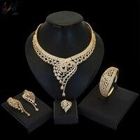 Yulaili Красивая американская бижутерия свадебные украшения комплекты вечерние свадебные аксессуары костюма Цепочки и ожерелья серьги набор