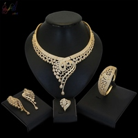Yulaili Beautiful American Jewellery Bridal Jewelry Sets Party Wedding Prom Costume Accessories Necklace Earring Set Women