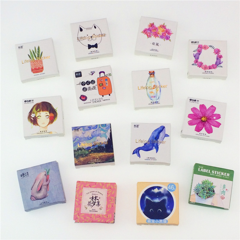 45pcs/pack Flowers Totem Memo Stickers Pack  Kawaii Planner Scrapbooking Stickers Stationery Escolar School Supplies