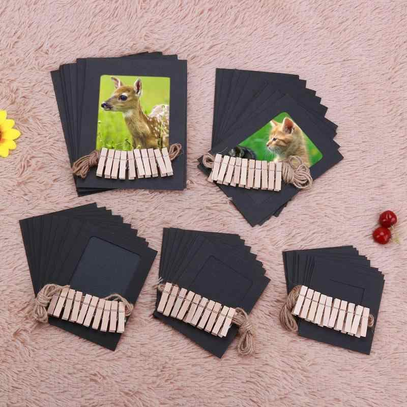 10Pcs/Lot DIY Photo Frame Kraft Paper Picture Frame 3-5 inch Hanging Album Wall Photos Kraft Paper With Clips and Rope