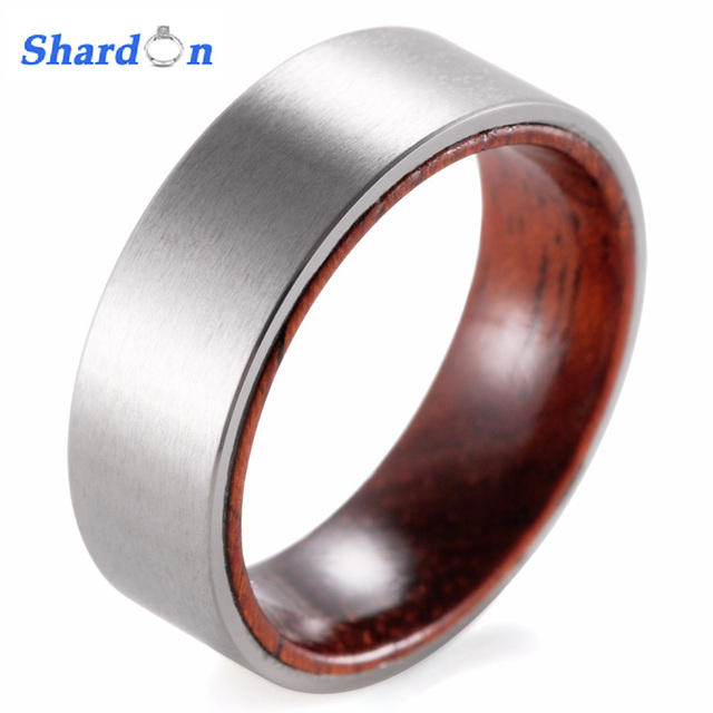 SHARDON 8mm Titanium And Koa Wood Ring With Matte Finishing Mens Wood Rings/wood  Wedding