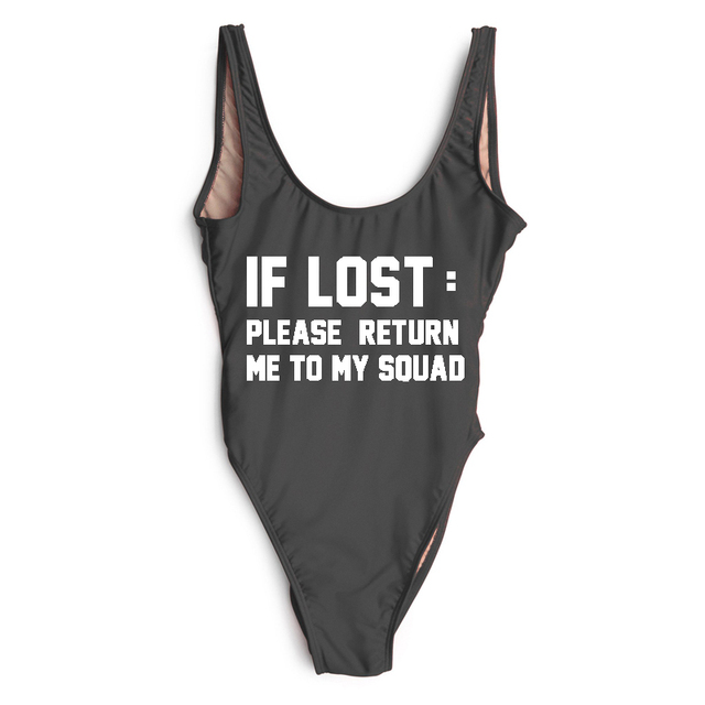 220ead5f4b1 IF LOST Letter Print One Piece Swimsuit Women Swimwear High Cut Bathing Suit  Black White Monokini Low Back Beach Wear Bodysuit