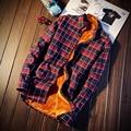 Плюс Бархат Новый Осенняя Мода Бренд Мужской Одежды Slim Fit Мужчины с длинным Рукавом Рубашки Мужчины Плед Хлопок Повседневная Мужчины Рубашка Социальный М-5XL
