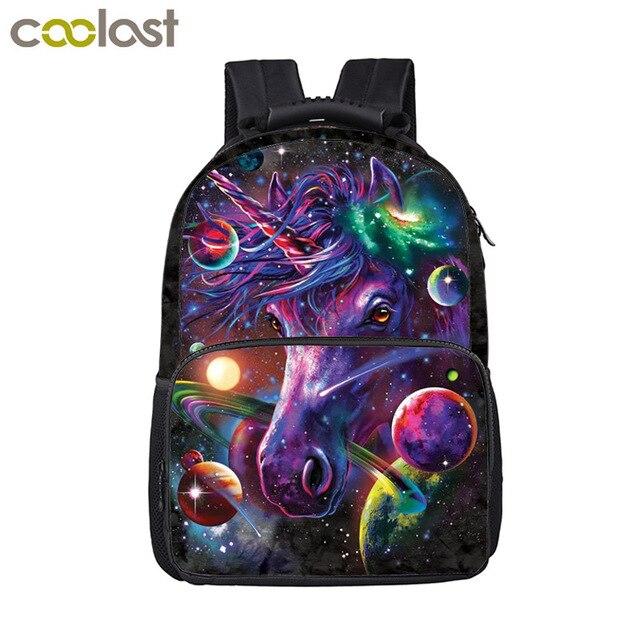 Cartoon Galaxy Unicorn Backpack For Teenage Girls Boys Kawaii