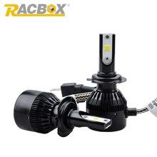 RACBOX Пара 72 Вт СВЕТОДИОДНЫЕ Фары Автомобиля Супер Яркий H1 H7 H4 H8/H9/H11 HB3 9006/HB4 Противотуманные Фары Лампы Автомобильные Лампы COB DRL Внешнего Света