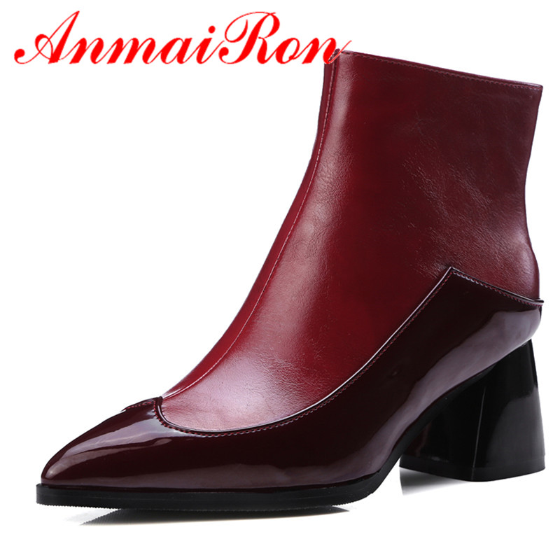 ANMAIRON White Shoes Zippers High Heels Large Size 34-43 Winter Boots  Pointed Toe Shoes Woman Sexy Red Ankle Boots for Women enmayla ankle boots for women low heels autumn and winter boots shoes woman large size 34 43 round toe motorcycle boots