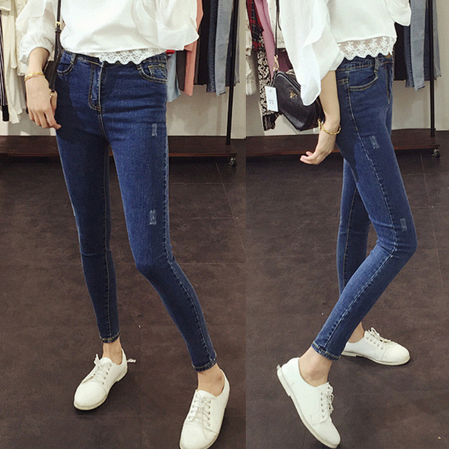 Autumn Korean students frayed waist nine points jeans female stretch pencil pants feet Slim was thin summer