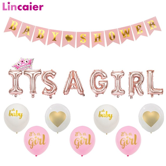 Lincaier Baby Shower Pink Paper Banner Decorations Its a Girl Boy Balloons Party Supplies Babyshower Gender