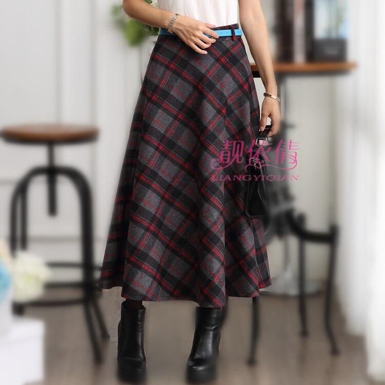 6ed198f773c2 womens dark red plaid skirt winter vintage pleated long wool skirt maxi  warm woolen plaid skirts 3XL jupe longue taille haute