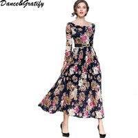 Women Flower Print Lace Christmas Dress 2018 New Autumn Fashion Vintage Runway Long Maxi Dress Evening Party Dresses