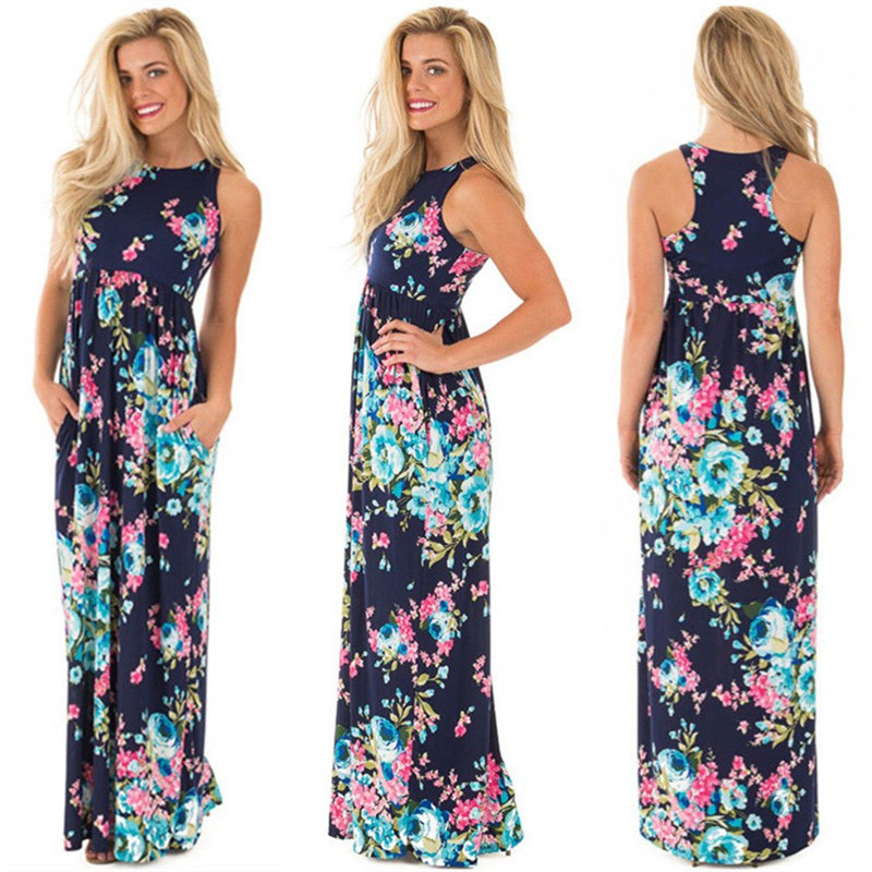 19 Summer Long Dress Floral Print Boho Beach Dress Tunic Maxi Dress Women Evening Party Dress Sundress Vestidos de festa XXXL 44