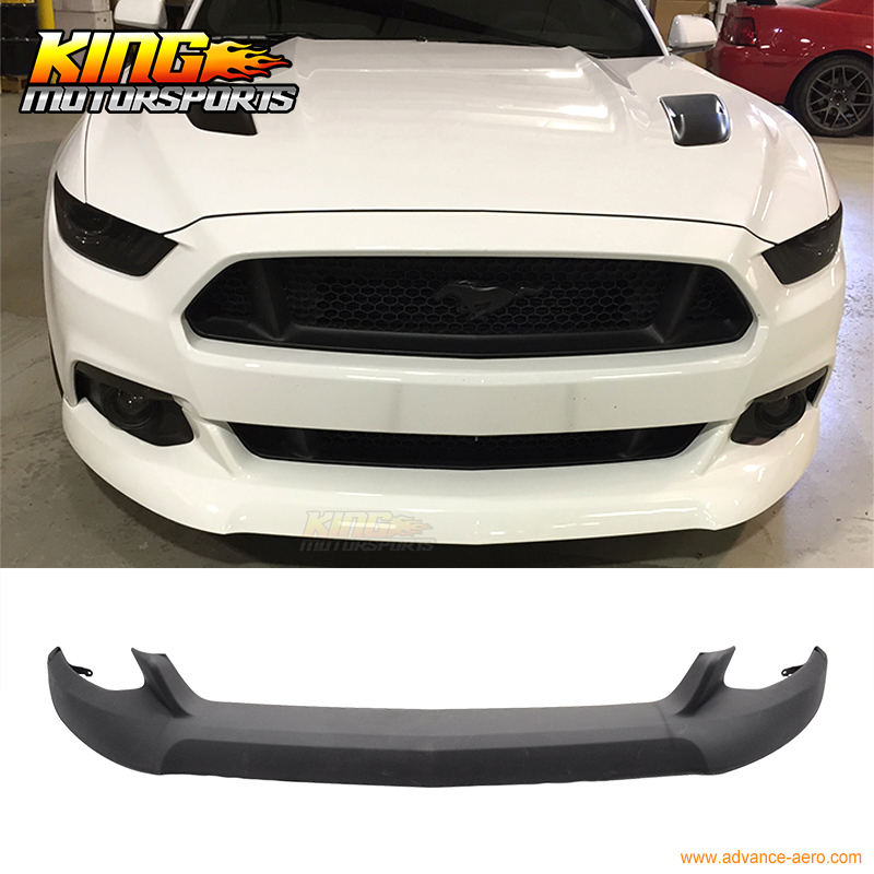For 2015 2016 Ford Mustang Front Bumper Lip IKC front chin lip Unpainted Black Ready for Paint