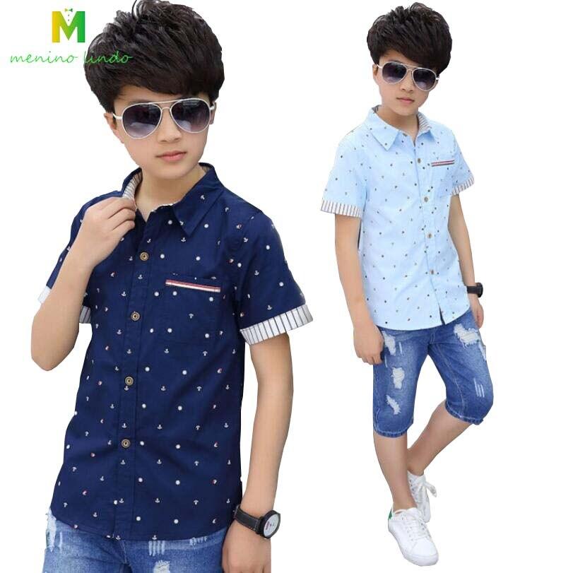 Boys blouses 4 15T kids summer cotton shirt teenage clothes baby boys  fashionable jacket children causal shirt boys outwear tops Shirts  -  AliExpress