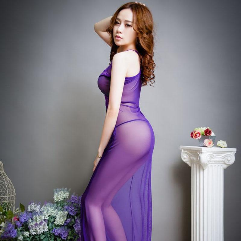 07bb5eb336b0 Purple See Through Sexy Women Night Dress Slip Sleeping Dress Lingerie  Spaghetti Strap Nightwear Sleeveless Nightgowns Sleepwear-in Nightgowns    Sleepshirts ...