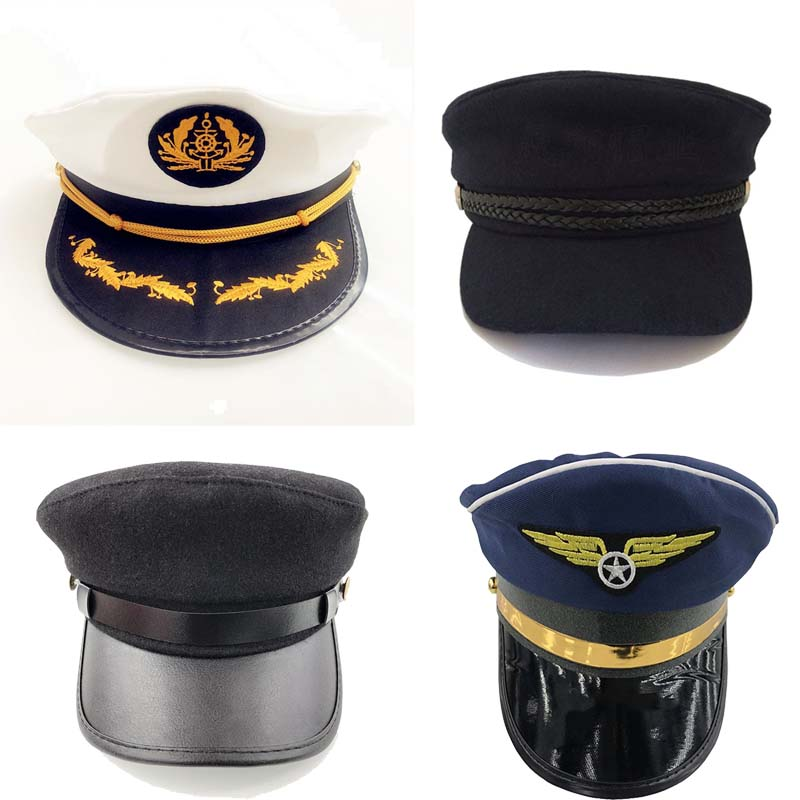 Captain's Yacht Sailors Hat Snapback Adjustable Sea Cap Navy Costume Accessory Fit Foradults And Children