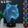 H Y Leopard Animal Night 3D RGB Cambiable Lámpara de estado de Ánimo de Luz LED decorativa lámpara de mesa de luz dc 5 v usb conseguir un free control remoto