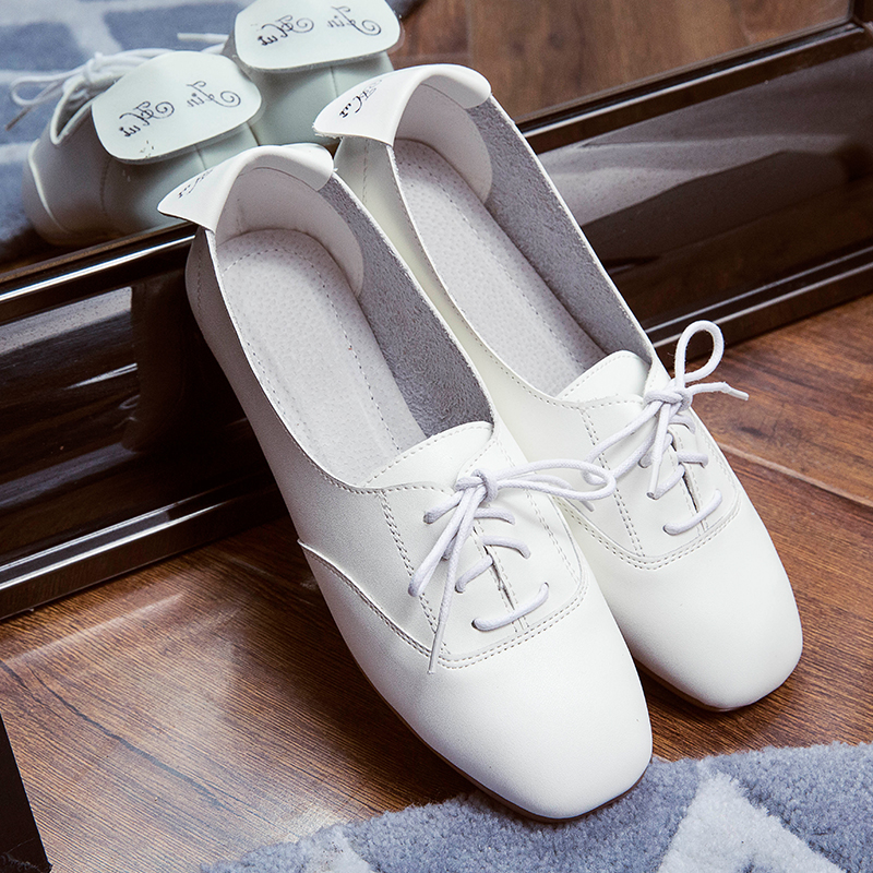 Brown D397 Nouvelles Mocassins Chaussures blanc Bout De Automne 2019 Mode Brun Cravate Printemps Femmes Carré Casual Pour Blanc Z4aBFqwF
