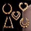 Hot Selling Celebrity Large Basketball Wives Hoop Earring Heart Star Bamboo Big Hoop Earrings For Women Fashion Jewelry