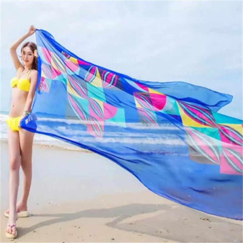 Colorato di Stampa Beach Cover Up Bikini 2019 Della Spiaggia di Estate di Usura Del Cardigan Rosso Blu Sciarpa Camicetta Delle Donne Costume Da Bagno Bikini Cover Up