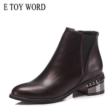 E TOY WORD Women Boots Size 40-43 booties side zipper fashion low heel shoes pointed Martin boots elastic band Chelsea boots цена в Москве и Питере