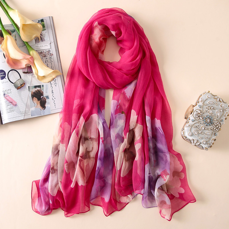 2019 New Silk Women   Scarf   Print Summer Beach   Scarves     Wraps   Lady Foulard Pashmina Band Stole Sunscreen Shawls